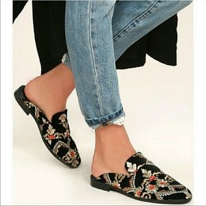 Free People At Ease Velvet Embroided Brocade Mule